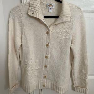Talbots Off White Snowflake Sweater